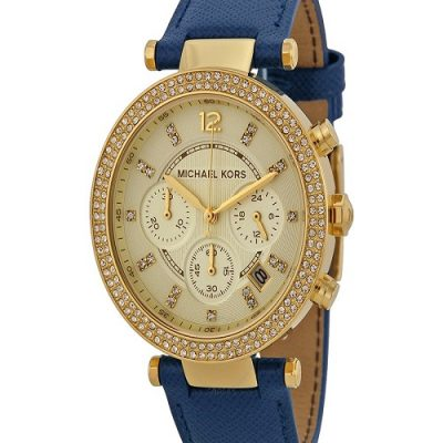 Michael Kors Parker Chronograph Watch - Gold Tone Navy