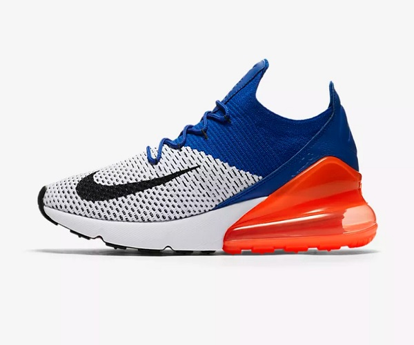 "Nike Air Max 270 Flyknit /""White//Racer Blue Orange AO1023 101 Size 9.5"