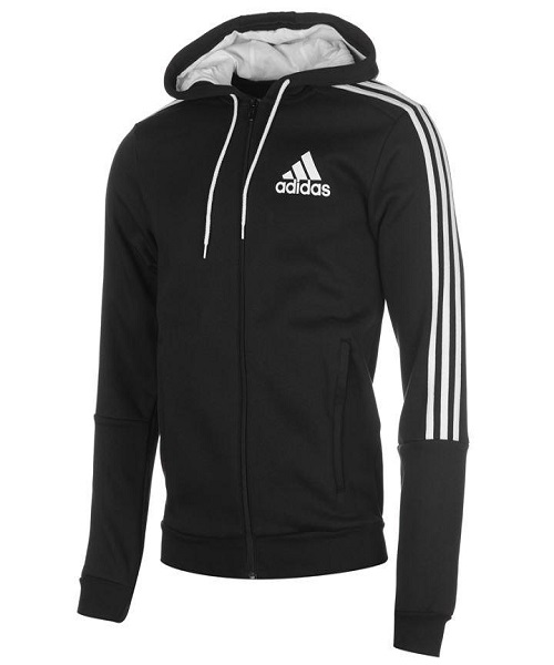 5811c9fdaab adidas Mens 3 Stripes Zip Through Hoody - Black   White - Hammonds Online  Store