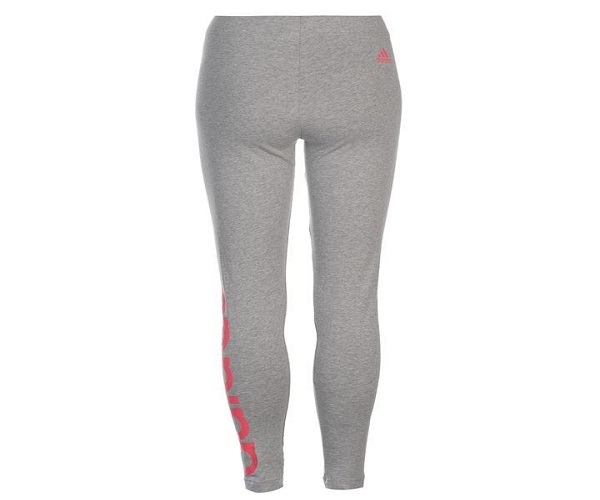 909b4f64942bd1 adidas Womens Linear Tights - Med. Grey & Pink - Hammonds Online Store